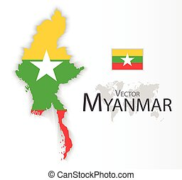 Myanmar Republic of the Union of Myanmar flag and map...