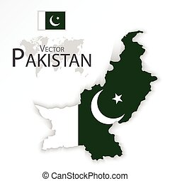 Pakistan Islamic Republic of Pakistan flag and map...