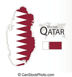 Qatar State of Qatar flag and map transportation and tourism...