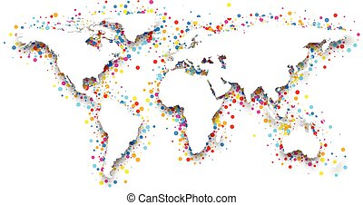 3d world map - 3d world map with color confetti Vector paper...