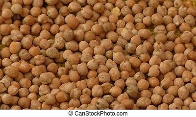 Closeup chickpea background, top view