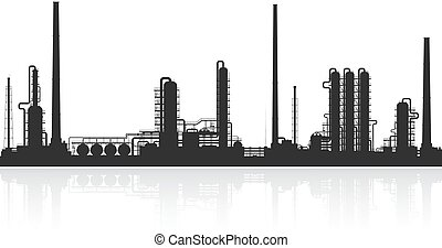 Oil refinery or chemical plant silhouette. Detail...