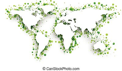 Green 3d world map Vector paper illustration