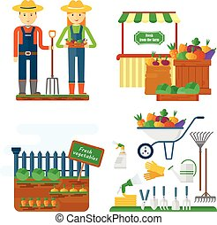 farmer with garden equipment - Images of the life and work...