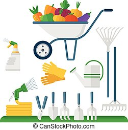 wheelbarrow and garden equipment - Wheelbarrow and garden...