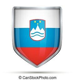 Shield with flag Slovenia Editable Vector Illustration...
