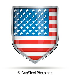 Shield with flag USA Editable Vector Illustration isolated...
