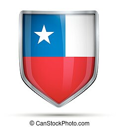 Shield with flag Chile. Editable Vector Illustration...