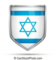 Shield with flag Israel. Editable Vector Illustration...