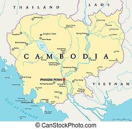 Cambodia Political Map - Cambodia political map with capital...