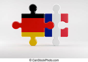 Symbol of good relations between Germany and France - 3d...