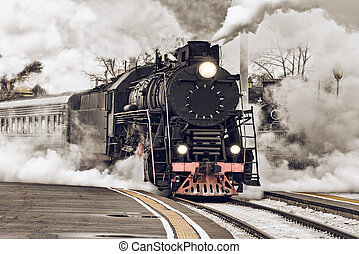 Retro steam train. - Retro steam train departs from the...