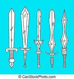 Vector hand drown set of swords
