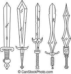 Vector hand drown set of swords Isolated illustration Black...