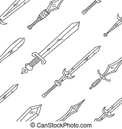 Vector hand drown pattern with swords. Black and white