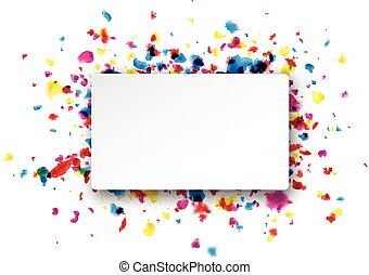 Rectangular background with drops - Paper rectangular white...