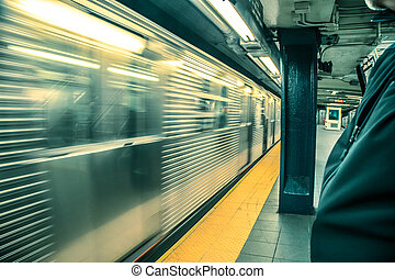 Subway Train Blur - Motion blur as New York City subway...