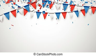 Background with flags. - Background with confetti and...