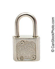 Metal padlock isolated on white background
