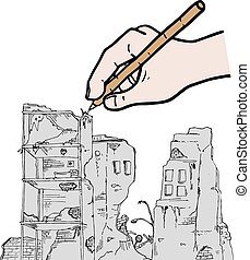 ruins vector draw - Creative design of ruins vector draw