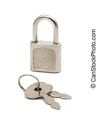 Metal padlock with keys on a ring isolated on white...