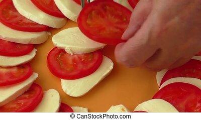 Tomato and mozzarella on a plate