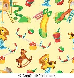 vector seamless pattern of children playground.