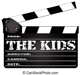 The Kids Clapperboard - A typical movie clapperboard with...