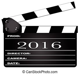 2016 Movie Clapperboard - A typical movie clapperboard with...