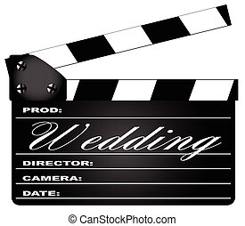 Wedding Clapperboard - A typical movie clapperboard with the...