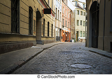 Street without people early in the morning