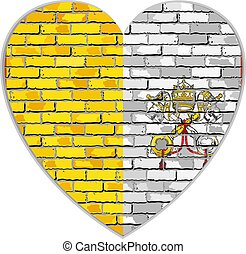 Flag of Vatican in heart shape - Flag of Vatican City on a...