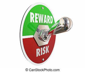 Risk Vs Reward Return on Investment Switch 3d Illustration