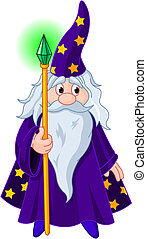 Wizard with staff - Sorcerer wizard magician with staff