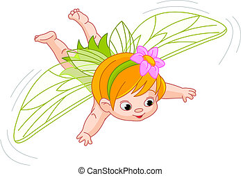 baby fairy in flight - Illustration of a cute baby fairy in...