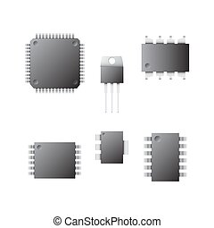 Set of different chips on a white background.
