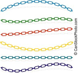 Simple flat chain link, chain illustration. Silhouette of a...