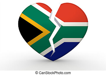 Broken white heart shape with South Africa flag, 3D...