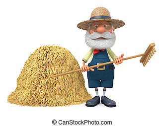 3D illustration the elderly farmer costs outdoors with a...
