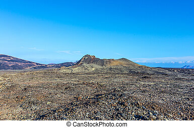 volcano Montana Colorada in Lanzarote, Tinajo under blue sky