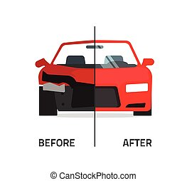 Car body frame repair service vector, crushed and repaired...