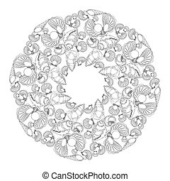 Hand drawn mandala for coloring with shells and waves. -...