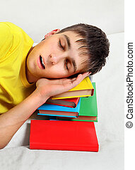 Teenager sleep on the Books - Teenager sleep with the Books...