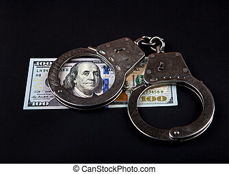 Dollars and Handcuffs - American Dollars and Handcuffs on...