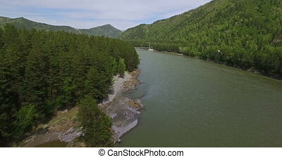 Flight over the the River - Aerial View: Flight over the...