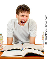 Tired Student with the Books - Tired Student Yawn on the...