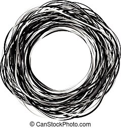 Random scribble circles. Concentric circles in a hand drawn...