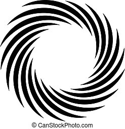 Spiral element. Concentric swirling shape with lines...