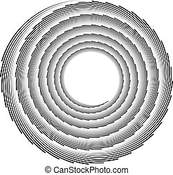 Volute, helix element made of lines. Logarithmic spiral.