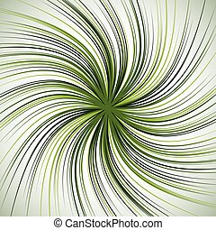 Spiral background with thin radial lines. Concentric, circular swirl, twirl pattern. Sunburst with rotation. Monochrome abstract illustration.